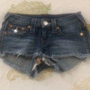 True Religion Sz 24 Cutoff Denim Shorts